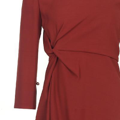 unbalance draping detail dress orange